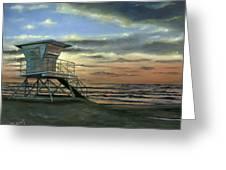 Moonlight Sunset Greeting Card by Lisa Reinhardt