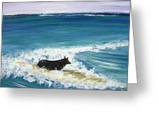 Moonlight Surfer Girl. Greeting Card