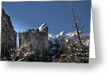 Moonlit Bridalveil  Falls-yosemite Valley Greeting Card