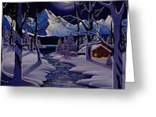 Moonlit Cabin Greeting Card