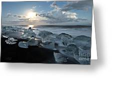 Moonlit Ice Beach Greeting Card