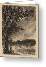 Moonlit Landscape With Tree At The Left Greeting Card