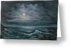Moonlit Seascape Greeting Card by Katalin Luczay