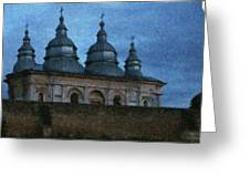 Moonlit Monastery Greeting Card