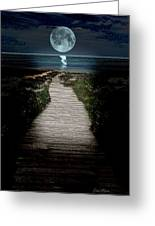 Moonlit Night At The Beach Greeting Card