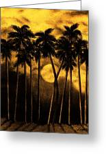 Moonlit Palm Trees In Yellow Greeting Card