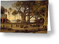 Moonlit Scene Of Indian Figures And Elephants Among Banyan Trees Greeting Card