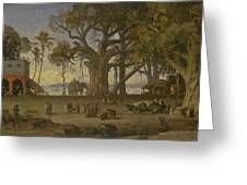 Moonlit Scene Of Indian Figures And Elephants Among Banyan Trees. Upper India Greeting Card