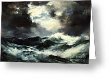 Moonlit Shipwreck At Sea Greeting Card
