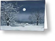 Moonlit Snowy Scene On The Farm Greeting Card