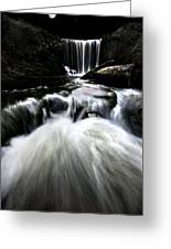 Moonlit Waterfall Greeting Card