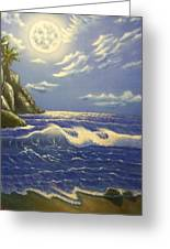 Moonlit Wave Greeting Card