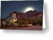 Moonrise At Superstition Mountain Greeting Card