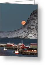 Moonrise In Reine Greeting Card