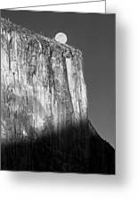 M-m6506-e-bw-moonrise Over El Capitan At Sunset  Greeting Card