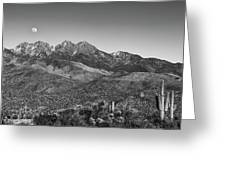 Moonrise Over Four Peaks Greeting Card