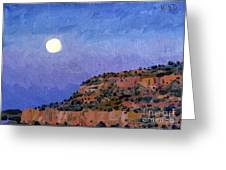Moonrise Over Gallup Greeting Card