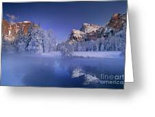 Moonrise Over Gates Of The Valley Yosemite National Park Greeting Card