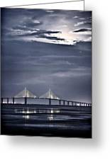 Moonrise Over Sunshine Skyway Bridge Greeting Card by Steven Sparks