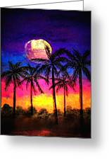 Moonrise Over The Tropics Greeting Card