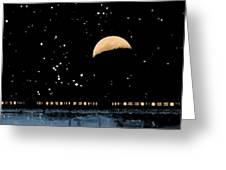 Moonset Over Depot Greeting Card