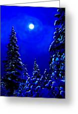 Moonshine On Snowy Pine Greeting Card