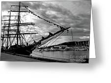 Moored At Hobart Bw Greeting Card