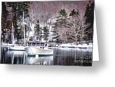 Moored Boats In Maine Winter  Greeting Card