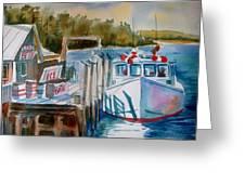 Moored Fishing Boat Greeting Card