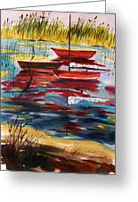 Moored In The Cove Greeting Card