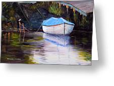 Moored Rowing Boat Greeting Card