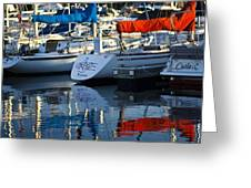 Moored Sailboats Greeting Card