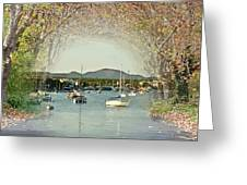 Moored Yachts In A Sheltered Bay Greeting Card
