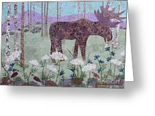 Moose And Three Sparrows Greeting Card