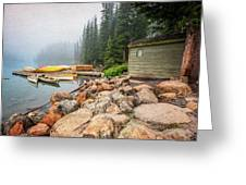 Moraine Lake And Boathouse Greeting Card