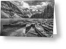 Moraine Lake In Black And White Greeting Card