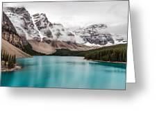 Moraine Lake In The Clouds Greeting Card