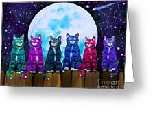More Moonlight Meowing Greeting Card