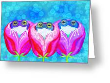 More Rose City Rain Frogs Greeting Card