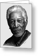 Morgan Freeman Charcoal Portrait Greeting Card