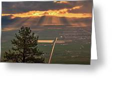 Morning Angel Lights Over The Valley Greeting Card