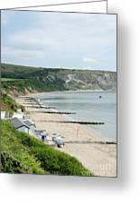 Morning Bay Pt Looking Up Swanage Bay On A Summer Morning Beach Scene Greeting Card