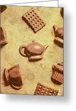 Morning Breakfast Chocolate Tea Set  Greeting Card
