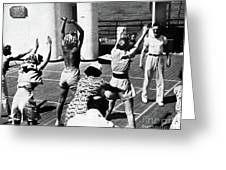 Morning Calisthenics On The Rms Queen Mary 1938 Greeting Card