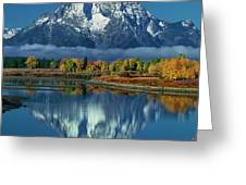 Morning Cloud Layer Oxbow Bend In Fall Grand Tetons National Park Greeting Card by Dave Welling