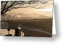 Morning Filey Beach Greeting Card