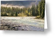Morning Fog At Athabasca River Greeting Card