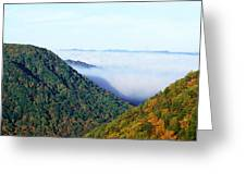 Morning Fog At Sunrise In Autumn Greeting Card