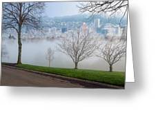Morning Fog Over City Of Portland Skyline Greeting Card