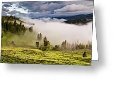 Morning Fog Over Yellowstone Greeting Card
